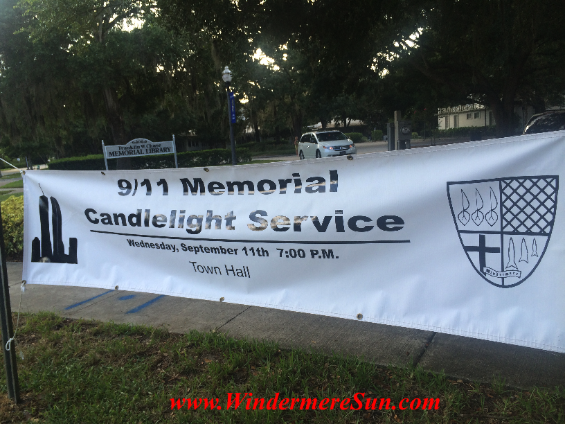 9/11 Memorial Candlelight Service on Friday, September 11, 2015, at 7:00 pm, 520 Main Street, Windermere, FL (credit: Windermere Sun-Susan Sun Nunamaker)