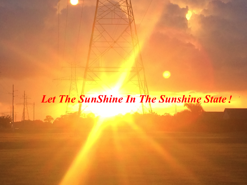 Let The SunShine In The Sunshine State! (Requesting Florida state legislators to consider implementing Feed-In-Tariff For Renewables With Value of Solar/Renewables. photo credit: Windermere Sun-Susan Sun Nunamaker)