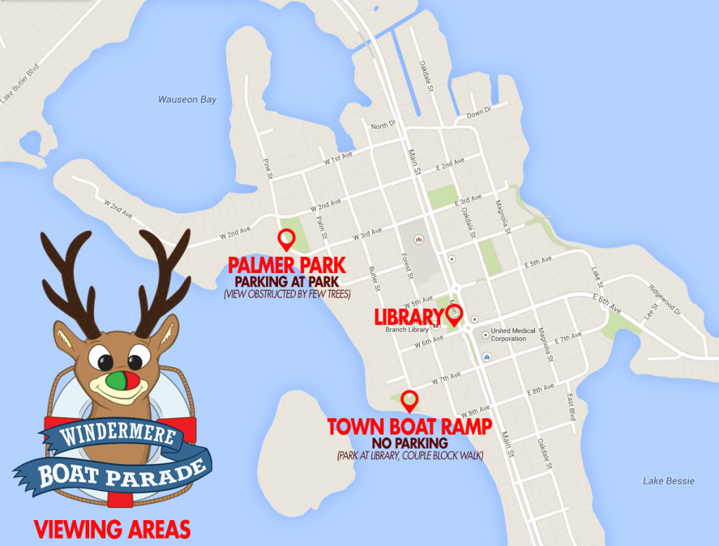 Windermere Boat Parade viewing areas for Dec. 20, 2014 (provided by David Reagan)