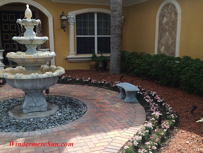 Right amount of mulch, bricks, and gravels makes it a water-friendly design (credit: Windermere Sun-Susan Sun Nunamaker)