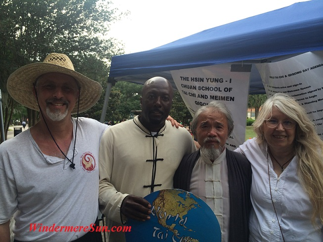 Tai Chi-Qigong Masters at Earth Day/Lake Eola: (L) Sifu Sam Winters; Sifu Phil Sachell; Sifu Guanghui Zhao; Sifu Madame Wu (photographed by Windermere Sun-Susan Sun Nunamaker)