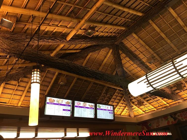 Disney-Japanese restaurant menu below authentic Japanese roofing structure (credit: Windermere Sun-Susan Sun Nunamaker)