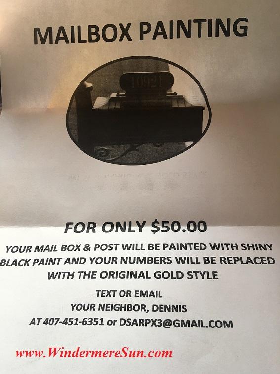 Mailbox Painting Service by Dennis (credit: Windermere Sun-Susan Sun Nunamaker)