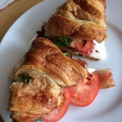 Le Cafe de Paris-croissant sandwich, crispy, buttery, bacon, yumminess