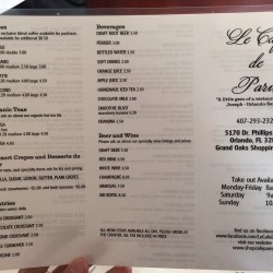 Menu1 of Le Cafe de Paris, 5170 Dr. Phillips Blvd., Orlando, FL , 407-293-2326