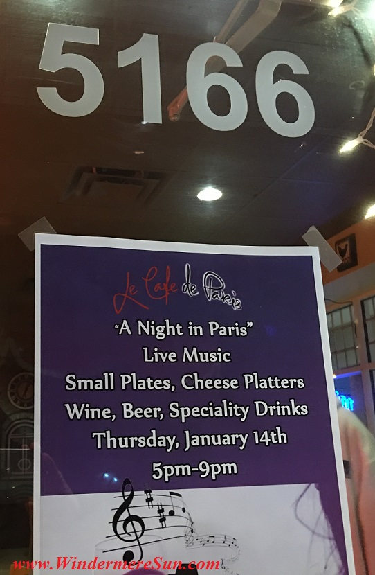 of Le Cafe de Paris,5170 Dr. Phillips Blvd., Orlando, FL , 407-293-2326 (credit: Windermere Sun-Susan Sun Nunamaker)