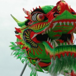 Chinese New Year-Chinese dragon in a dragon-dance for Chinese New Year 2000 in Helsinki. by Caseman