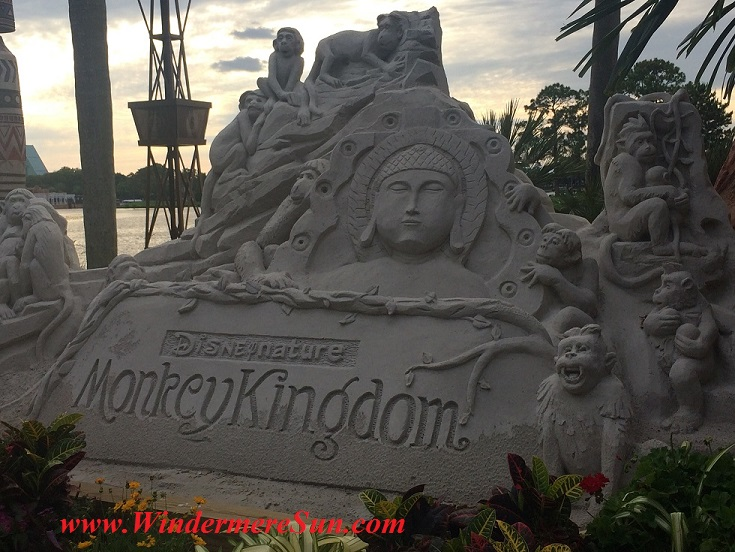 Monkey Kingdom sand display at Disney-Epcot in Orlando, FL (photographed by: Windermere Sun-Susan Sun Nunamaker)