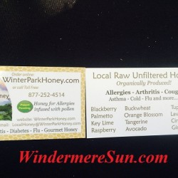 Business cards of Winter Park Honey at Windermere Farmer's Market (credit: Windermere Sun-Susan Sun Nunamaker)