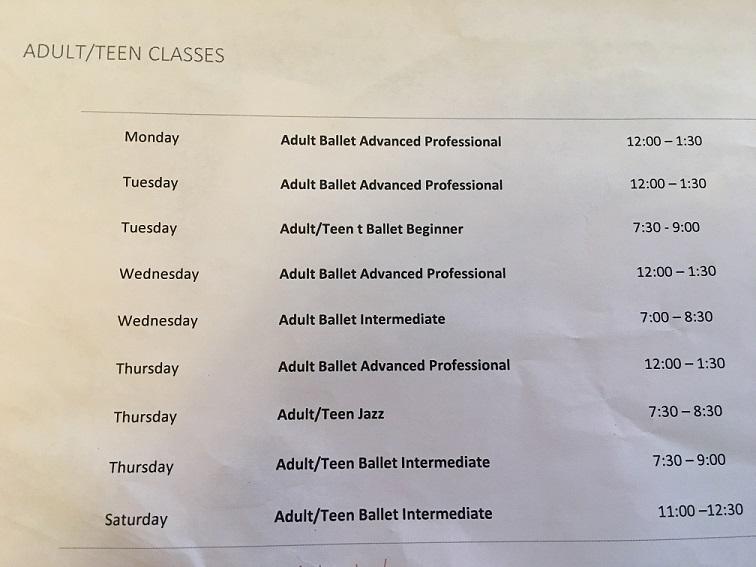 Orlando Ballet School South Campus Adult-Teen class schedule at 7988 Via Dellagio Way, Suite 204., Orlando, FL final