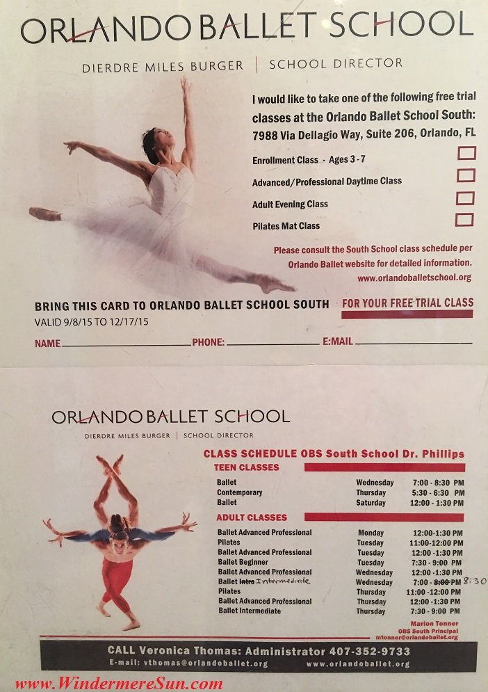 Orlando Ballet School South Campus class schedule at 7988 Via Dellagio Way, Suite 204., Orlando, FL final