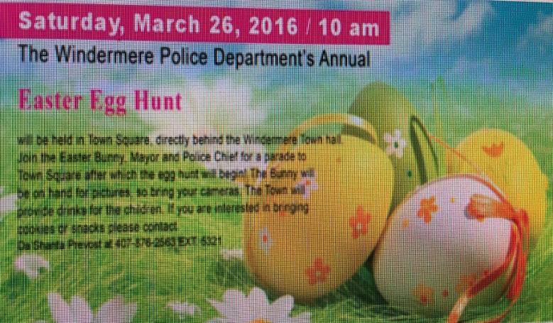 Windermere Police Department's Annual Easter Egg Hunt (March 26, 2016, 10:00 am, Windermere Town Hall)