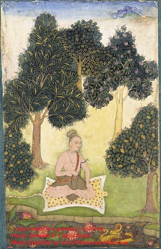 yogi_seated_in_a_garden, North Indian or Deccani miniature painting, c.1620-40, public domain in United States final