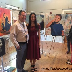 Art Show of Windermere Prep School- art teacher Mr. Brad Ramsey (L) and student Yiyu Celeste Lin (R) (photographed by Windermere Sun-Susan Sun Nunamaker)