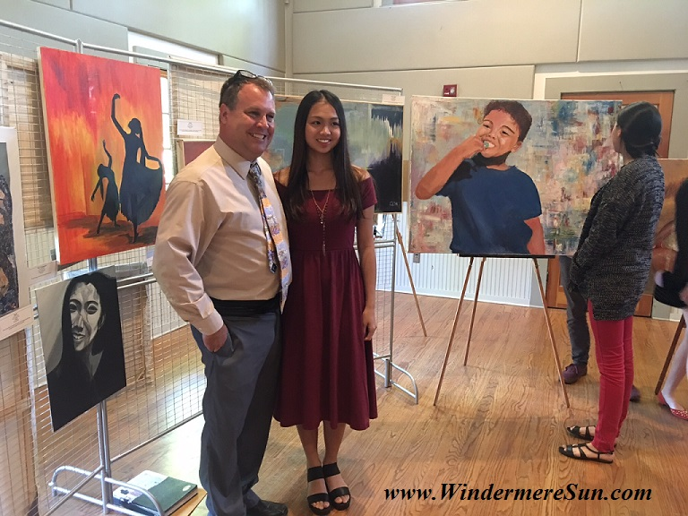 Art Show of Windermere Prep School- art teacher Mr. Brad Ramsey (L) and student Yiyu Celeste Lin (R) final