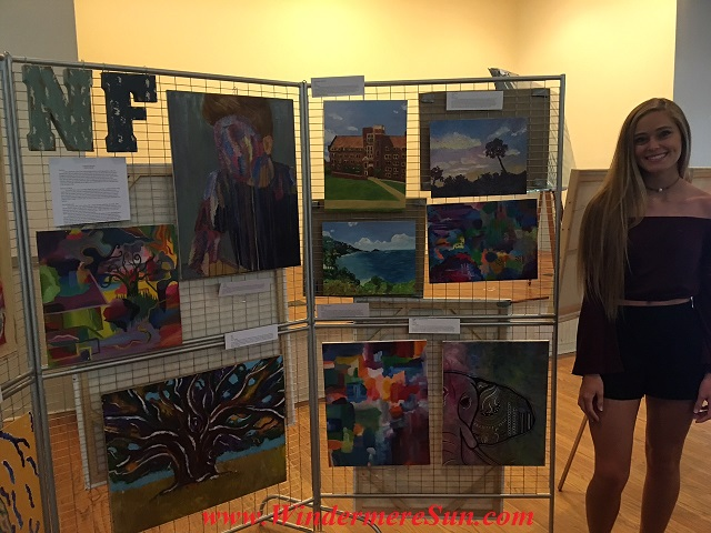Art Show of Windermere Prep School- student artist Natalie Farnella w her art works final