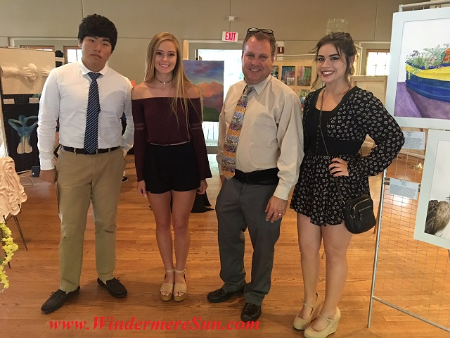 Art Show of Windermere Prep School- student artist Pete Shu (L) & Natalie Farnella, art teacher Mr. Brad Ramsey, student artist Claudia Verbass (R) final