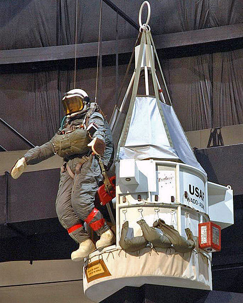 Kittinger-Replica of Excelsior III gondola and mannequin of Kittinger at the National Museum of the U.S. Air Force public domain final