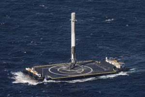 SpaceX-Falcon 9 first stage on an ASDS barge after the first successful landing at sea