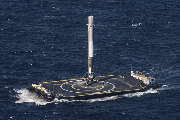 SpaceX-Falcon 9 first stage on an ASDS barge after the first successful landing at sea final