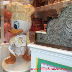 Louie the Duck on display inside Magic Kingdom on Main Street. Many people got the same idea: Beautiful sunny day to visit Magic Kingdom (credit: Windermere Sun-Susan Sun Nunamaker)