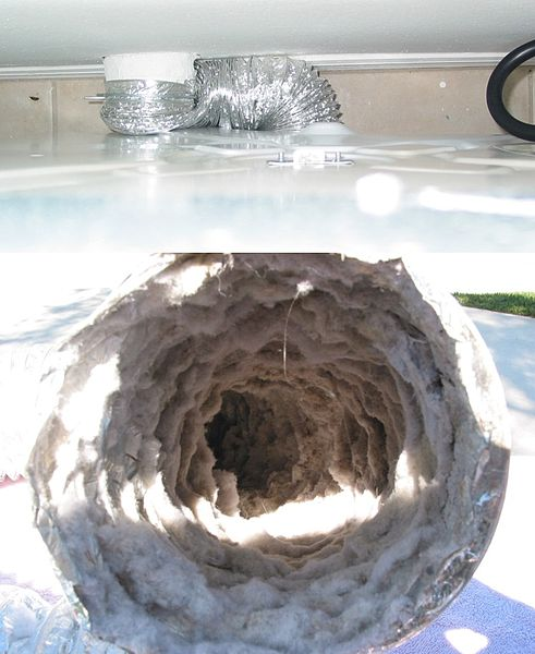 Upper image shows severely kinked and blocked dryer trainsition hose used to vent a tumble dryer. In this case the dryer was located or pushed back too far against the wall. Lower image shows initial lint build-up in the flex transition hose.Attribution-Rickharp