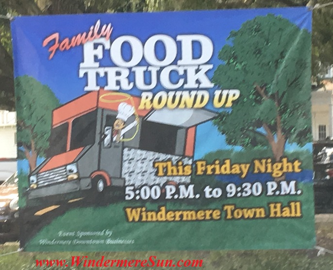 Family Food Truck Roundup-This Friday Night from 5:00 p.M. to 9:30 P.M., at Windermere Town Hall (photographed by Windermere Sun-Susan Sun Nunamaker)