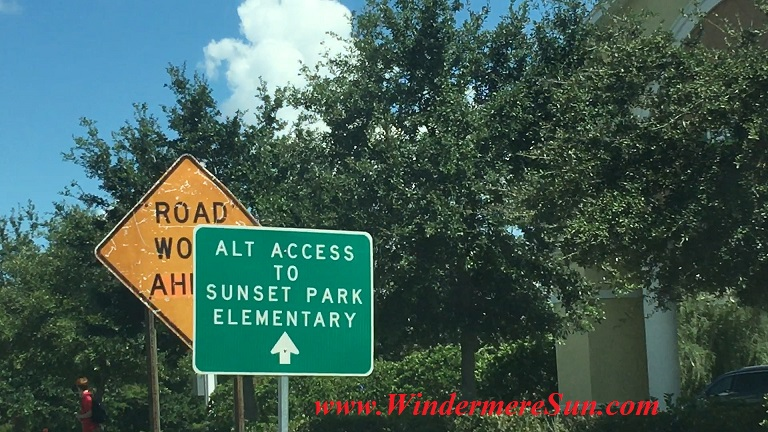 Street Sign For Alternate Access To Sunset Park Elementary School (credit: Windermere Sun-Susan Sun Nunamaker)