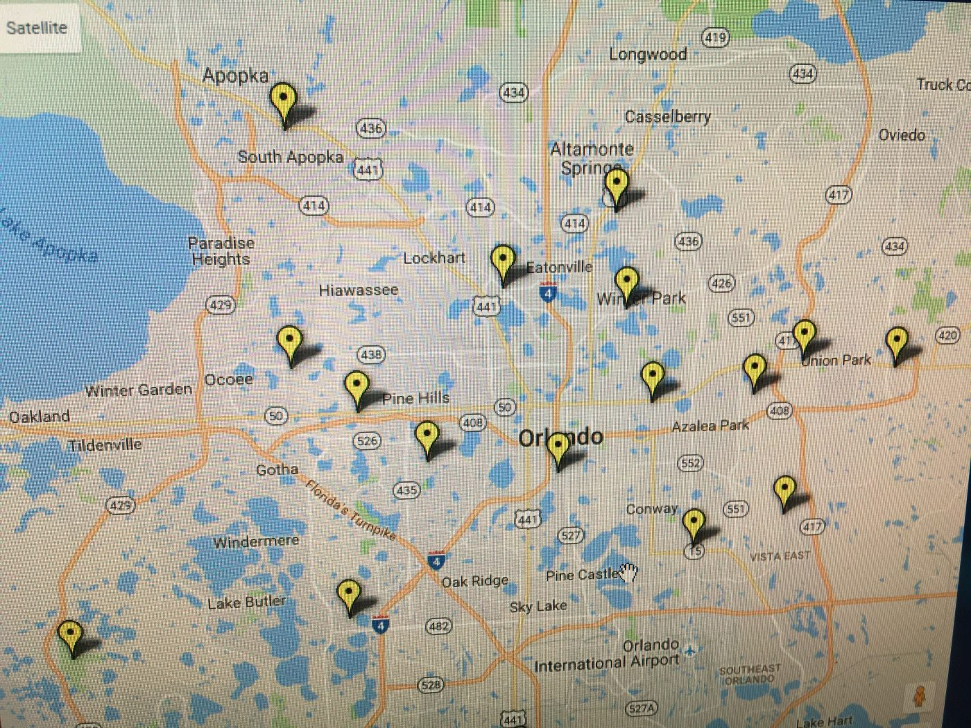 Vote Early locations map near Orlando Central Florida