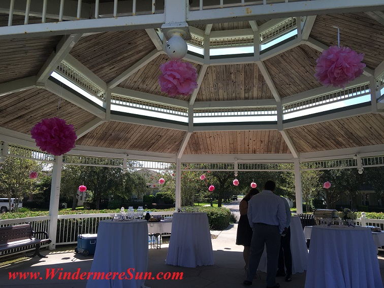 Gazebo with pink balls and linen table clothes (credit: Windermere Sun-Susan Sun Nunamaker)