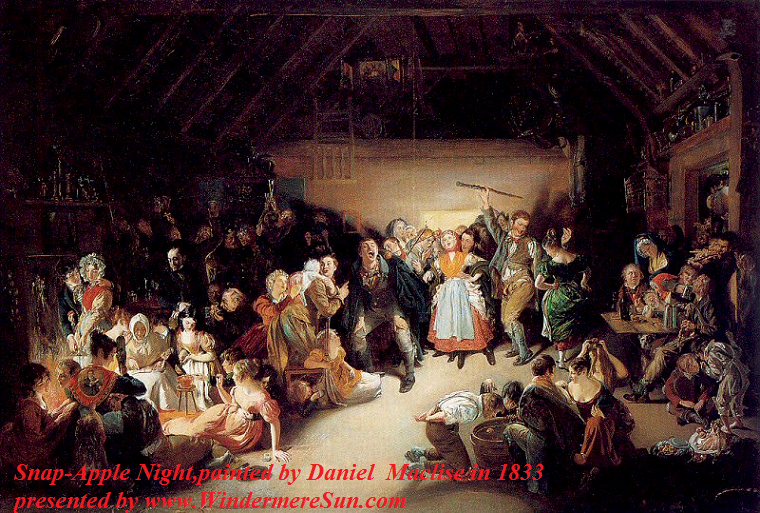 Snap Apple Night, painted by artist Daniel Maclise in 1833