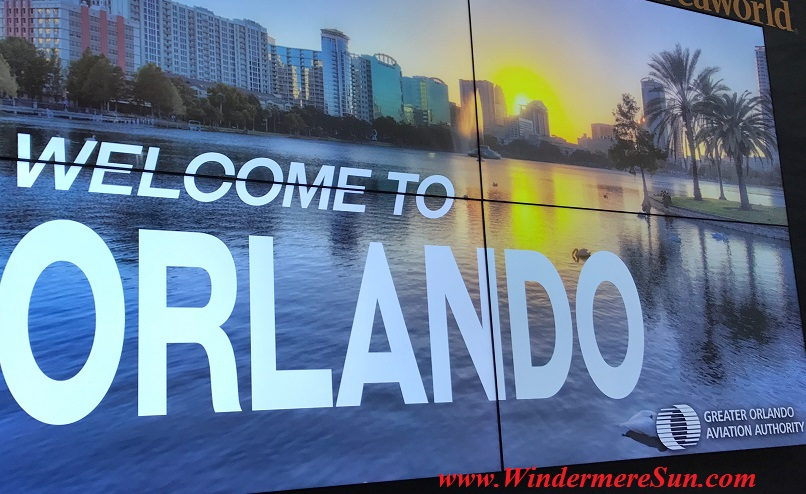 Orlando International Airport Welcome sign (credit: Windermere Sun-Susan Sun Nunamaker)