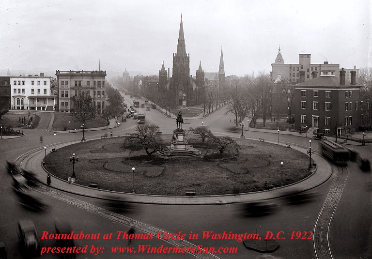 Roundabout at Thomas Circle in Washington, D.C., 1922