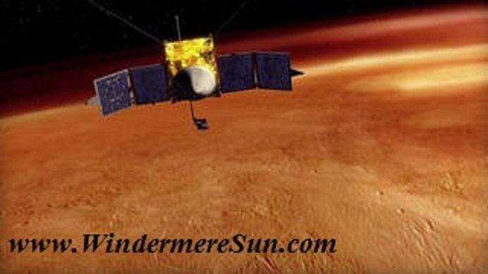 artist s drawing of MAVEN Spacecraft orbiting Mars final final