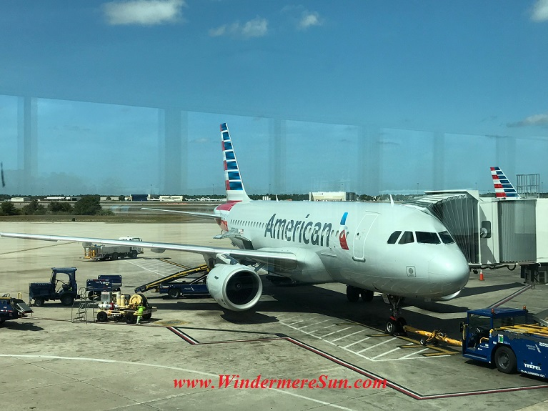 American Airline plane seen from Admirals Club final
