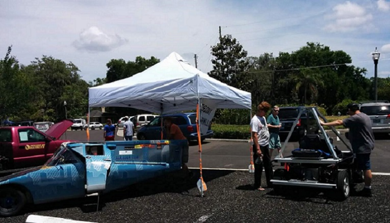 Larry Wexler's solar car at Casselberry Earth Fest 2017 final