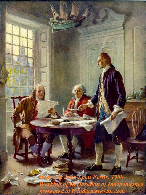 This idealized depiction was widely reprinted, left to right, Franklin, Adams, and Jefferson working on the Declaration (Jean Leon Gerome Ferris, 1900 final