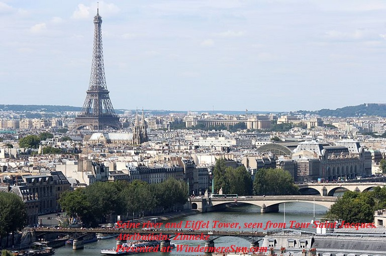 Eiffel_Tower_and Seine from_Tour_Saint_Jacques_2013-08, attribution-Zinneke, Creative Commons Attribution-Share Alike 3.0 final