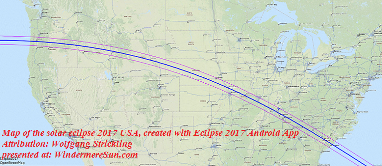 Map of the solar eclipse 2017 USA, created with Eclipse 2017 Android App, Geodata from OpenStreetMap Zoom 4, attribution-Wolfgang Strickling final