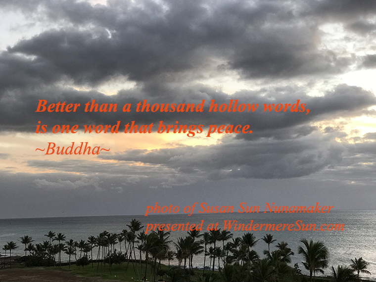 better than a thousand hollow words is one word that brings peace quote of buddha photo of susan sun nunamaker presented at windermeresuncom