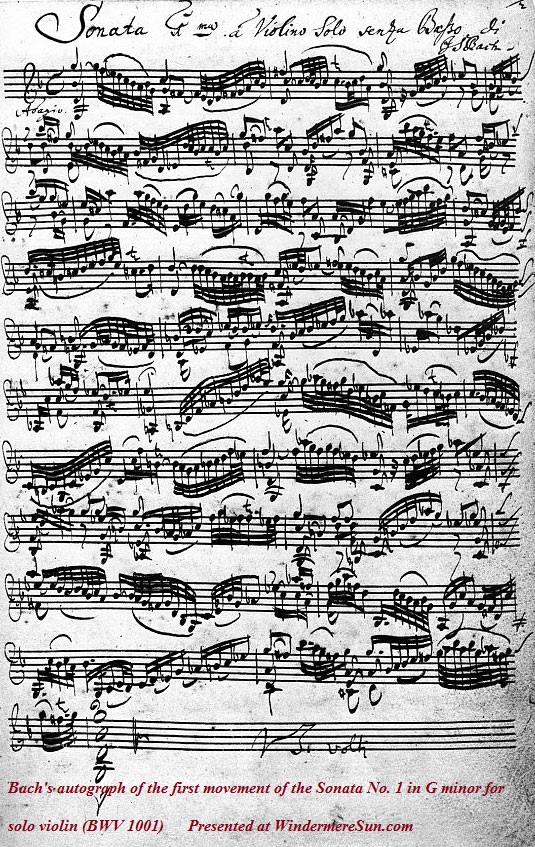 Bach's autograph of the first movement of the Sonata No. 1 in G minor for solo violin (BWV 1001)final