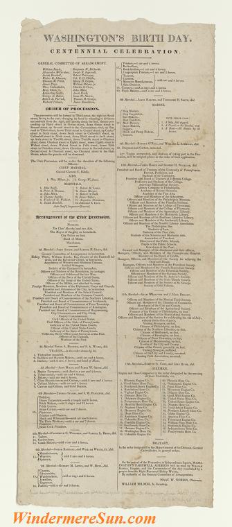 Centennial_celebration_of_Washington's_birth_day,_Philadelphia,_February_1832, Procession of events for the centennial celebration of Washington's birth day, Philadelphia, February 1832 final
