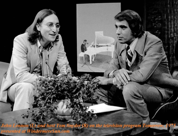 John Lennon and host Tom Snyder from the television program Tomorrow. Done in 1975, this was the last television interview Lennon gave before his life ended in 1980 final