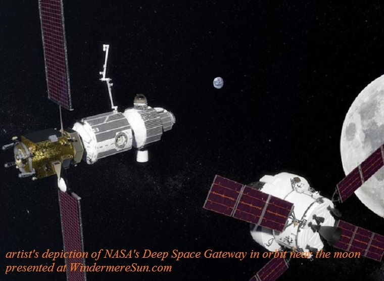 NASA's Deep Space Gateway in orbit near the moon.NASA, artist's depiction, final