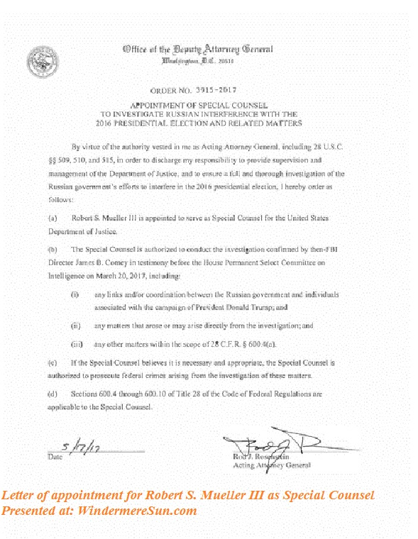A closer look at special counsel robert s mueller iii his letter of appointmentofspecialcounseltoinvestigaterussianinterferencewiththe2016presidentialelectionandrelatedmatterspdf pd finaljpg altavistaventures Images