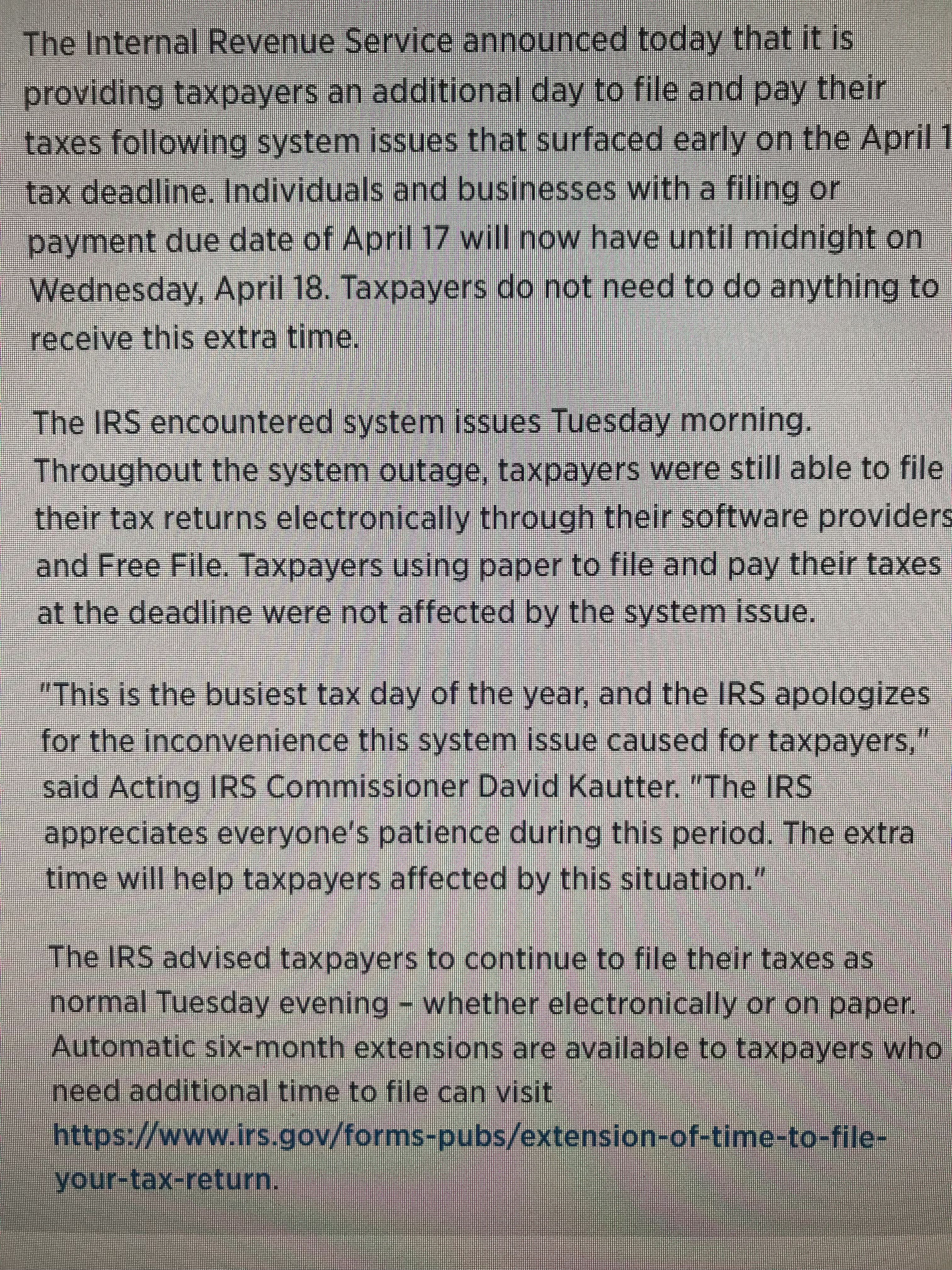 Irs Gives Taxpayers One Day Extension To File Windermere Sun