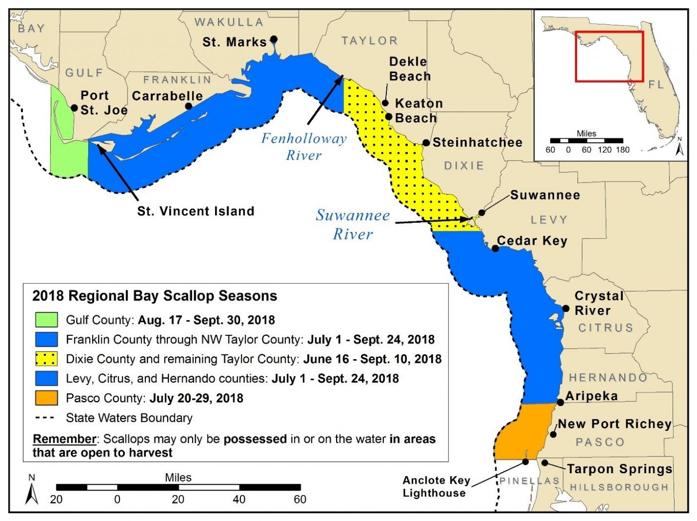 Map of Bay Scallop Seasons-2018