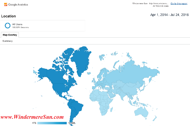 Google Analytics Map of: Visitors from 6 continents to Windermere Sun (http://www.WindermereSun.com) by July 24, 2016 (credit: Windermere Sun-Susan Sun Nunamaker)