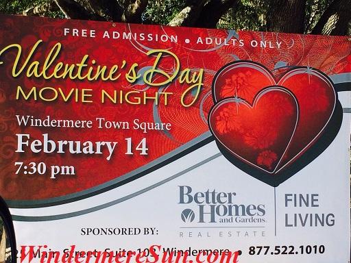 Valentine Day Movie Night 2015-Windermere Town Square, 520 Main Street, Windermere, FL, Feb. 14, 2015, 7:30-10:00 pm