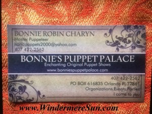 Bonnie's Puppet Palace of Bonnie Robin Charyn-Business Card (credit: Windermere Sun-Susan Sun Nunamaker)